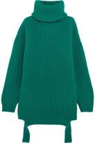 Balenciaga Oversized Ribbed Wool Turtleneck Sweater - Turquoise