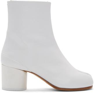 Maison Margiela White Mid Heel Tabi Boots