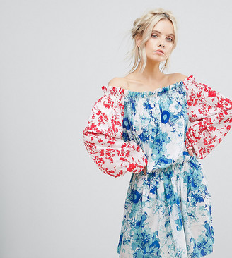 White Cove Petite Allover Mix Match Floral Offshoulder Mini Dress With Fluted Sleeve Detail