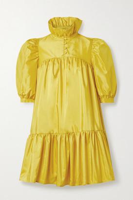 AVAVAV Ruffled Silk-taffeta Mini Dress - Marigold