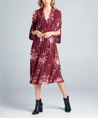 Simply Boho La Simply Boho LA Women's Casual Dresses BURGUNDY - Burgundy & Pink Floral Print Cape-Sleeve Midi-Dress - Women & Plus