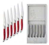 Laguiole Jean Dubost Red Steak Knives in Grey Box, Set of 6