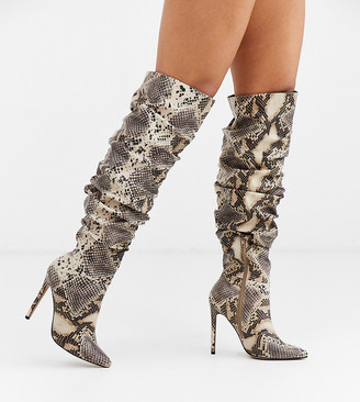 ASOS DESIGN Wide Fit Carlotta slouch stiletto knee boot in snake