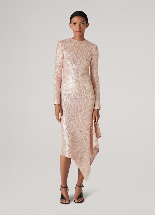 St. John Signature Statement Sequin Knit Asymmetric Hem Dress