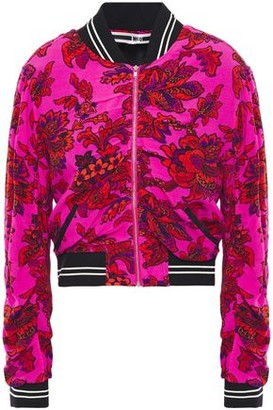 McQ Cropped Ruched Floral-print Crepe De Chine Bomber Jacket