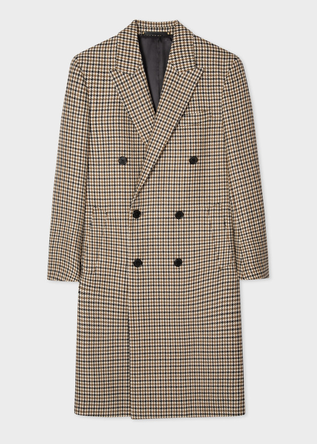 Paul Smith Men's Camel Houndstooth Wool Double-Breasted Overcoat
