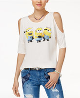 Hybrid Juniors' Minions Graphic Cold-Shoulder T-Shirt