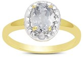 1.10 Carat TW Oval-cut White Topaz and Diamond Accent Ring Gold Plated (IJ-I2-I3) (April)