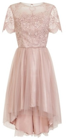 Dorothy Perkins Womens Chi Chi London Pink Embroidered Dip Hem Skater Dress, Pink