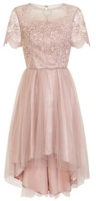 Dorothy Perkins Womens *Chi Chi London Pink Embroidered Dip Hem Skater Dress, Pink