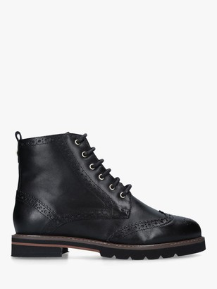 Carvela Shock Leather Brogue Lace Up Boots, Black