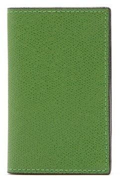 Valextra Compact Bi-fold Grained Leather Wallet - Womens - Green