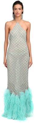 ATTICO Crystal Net & Ostrich Feather Dress