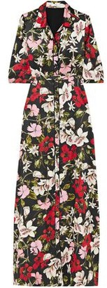 Erdem Floral-print Silk-satin Maxi Shirt Dress