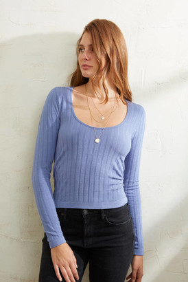 Free People Lucky You Layering Top Blue M/L