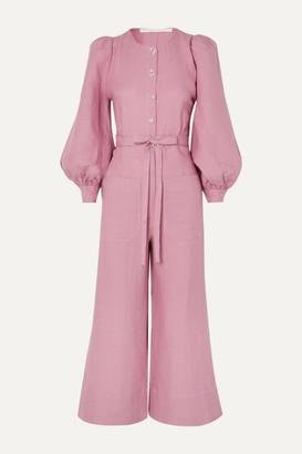 ANNA MASON Jane Belted Linen Jumpsuit - Blush