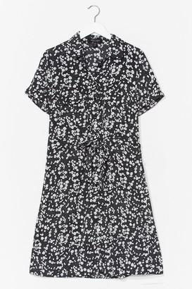 Nasty Gal Womens Dry Those Tiers Floral Shirt Dress - Black - 14