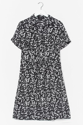 Nasty Gal Womens Dry Those Tiers Floral Shirt Dress - Black - 8, Black
