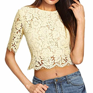 LEXUPE Women Tops Summer Comfortable Cool T-Shirts Casual Fashion Blouses Sexy Loose Sequin Glitter Blouses Shirts (Yellow L)