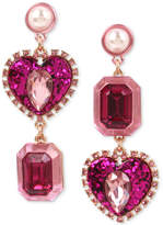 Betsey Johnson Rose Gold-Tone Pink Stone, Glitter Heart & Imitation Pearl Mismatch Drop Earrings