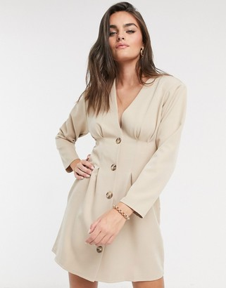 ASOS DESIGN nipped in waist dropped shoulder button through mini dress in soft camel