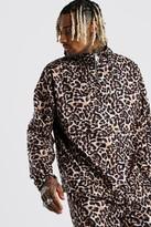 boohoo Mens Brown Leopard Print Cagoule, Brown