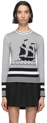 Thom Browne Navy and White Boat Crewneck Sweater