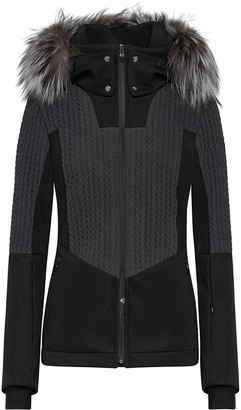 Post Card Crows Padded and Knit Jacket with Fur