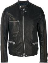 Lanvin collarless biker jacket - men - Cotton/Calf Leather/Polyester/Virgin Wool - 48