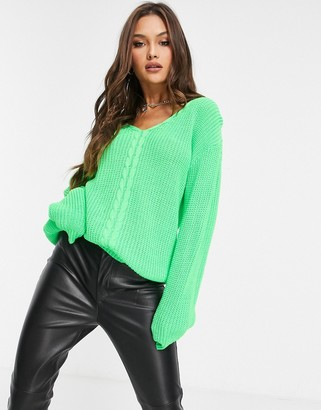 UNIQUE21 v-neck sweater in lime