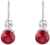 FANTASIA Clear & Ruby-Hued Crystal Double-Drop Earrings