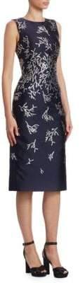Oscar de la Renta Coral-Embroidered Sheath Dress