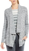 Calvin Klein Drape Front Heather French Terry Jacket With Ribbed Knit Sleeves