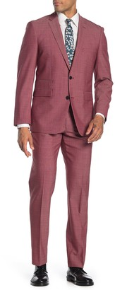 Vince Camuto Red Solid Two Button Notch Lapel Slim Fit Suit