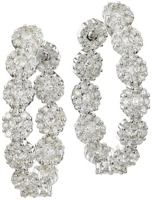 Hueb Diamond Flower 18K White Gold & Diamond Hoop Earrings