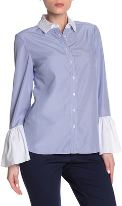 ECI Flounced Sleeve Button Up Shirt (Regular & Plus Size)