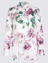 Marks and Spencer Floral Print Long Sleeve Satin Shirt
