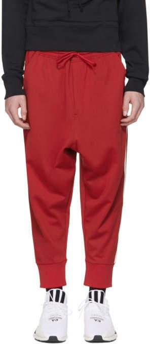 Y-3 Red Logo 3-Stripes Track Pants