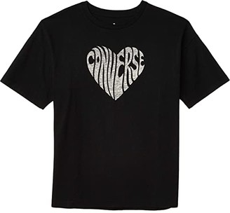 Converse Heart Reverse Print Tee Black) Women's Clothing