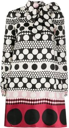 Valentino Long-Sleeve Polka-Dot Dress