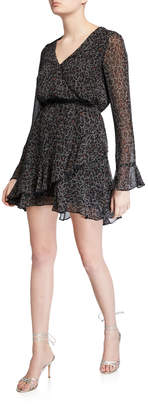 Cupcakes And Cashmere Amity Speckled Leopard Long-Sleeve Ruffle Dress