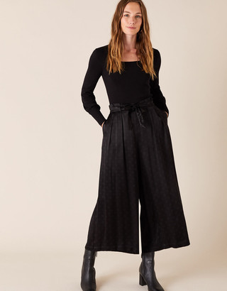 Monsoon Satin Cropped Trousers Black