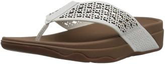 FitFlop Women's Leather Lattice Surfa Floral FLIP Flops