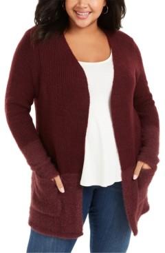 Belldini Plus Size Contrast 2-Pocket Sweater Cardigan