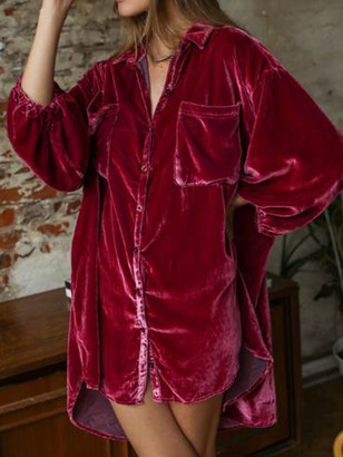 Free People Lux Velvet Shirtdress