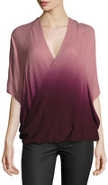 Young Fabulous and Broke Wrap-Front Ombre Top, Burgundy