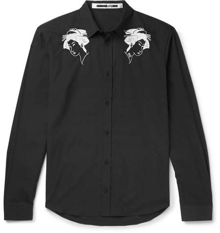 McQ Embroidered Cotton-Poplin Shirt