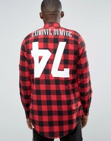 Criminal Damage Longline Check Shirt with Back Print