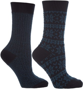 Jennifer Anderton Ladies 2 Pack Chunky Knit Boot Socks Blue