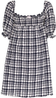 Solid & Striped Puckered Gingham Babydoll Dress